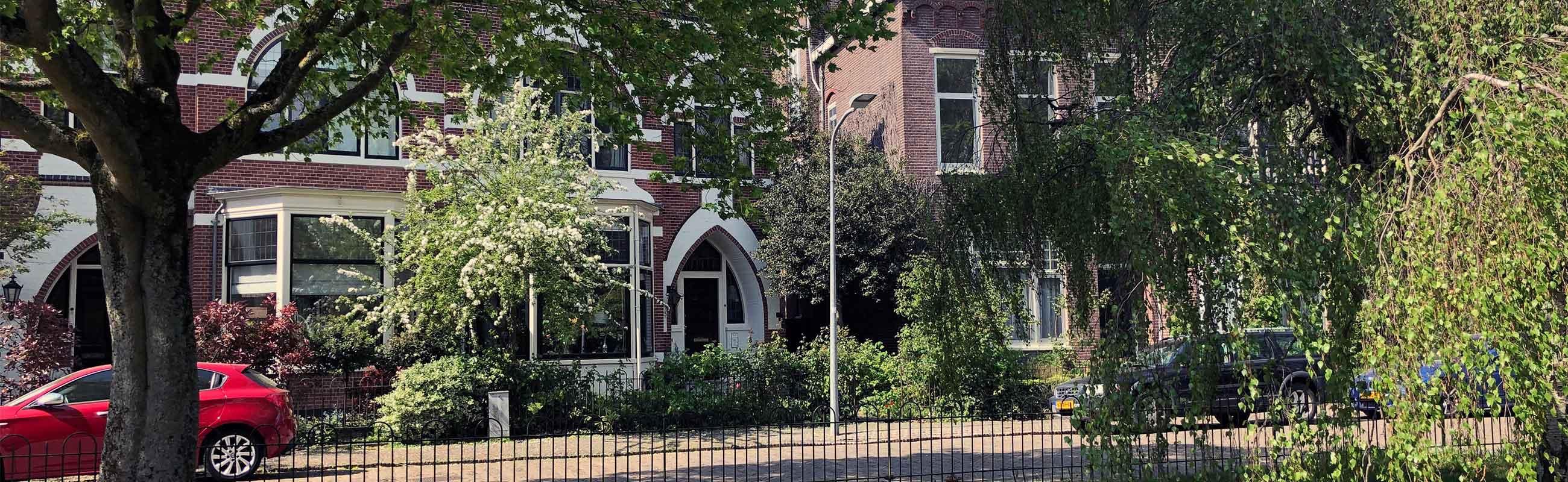 Koopwoningen en Villa's in een groene omgeving in de Koninginnebuurt in Haarlem.