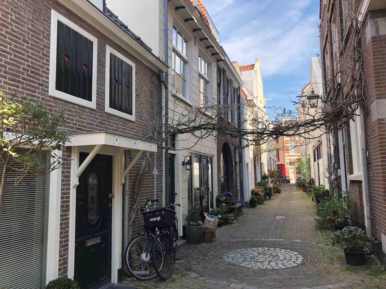 Huizen in het Brouwershofje in de Vijfhoek buurt in Haarlem