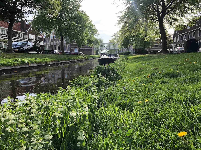 Koopwoningen met een bootje voor de deur in het Zijlwegkwartier in Haarlem Zuidwest